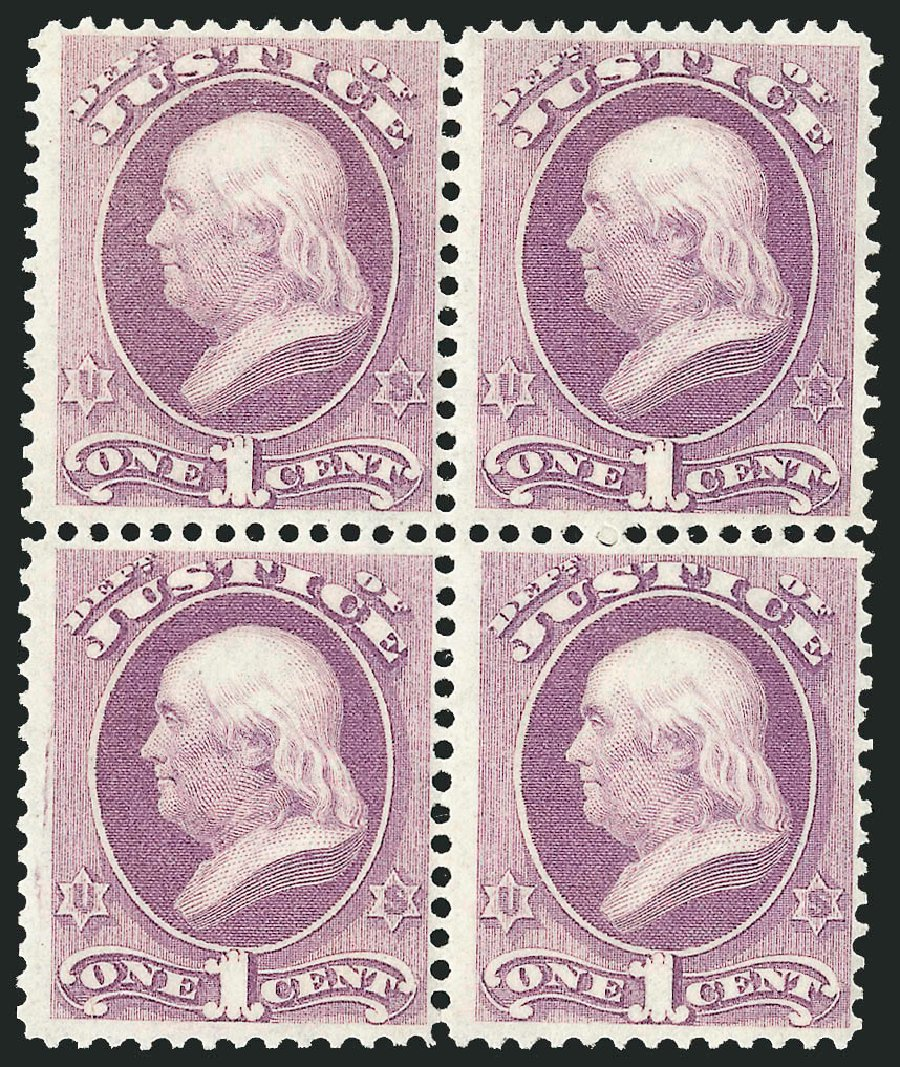 Values of US Stamp Scott Cat. #O25 - 1873 1c Justice Official. Robert Siegel Auction Galleries, Nov 2014, Sale 1085, Lot 4051