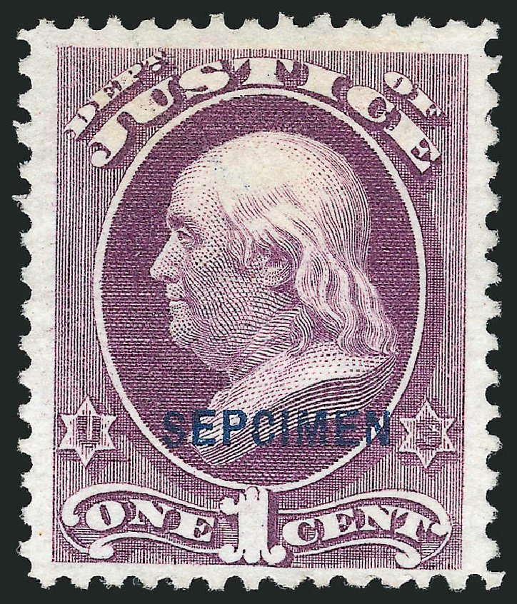 Values of US Stamps Scott Catalogue # O25: 1873 1c Justice Official. Robert Siegel Auction Galleries, Mar 2015, Sale 1095, Lot 564
