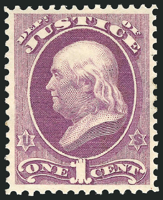 Costs of US Stamp Scott Cat. O25: 1873 1c Justice Official. Robert Siegel Auction Galleries, Feb 2015, Sale 1092, Lot 1455