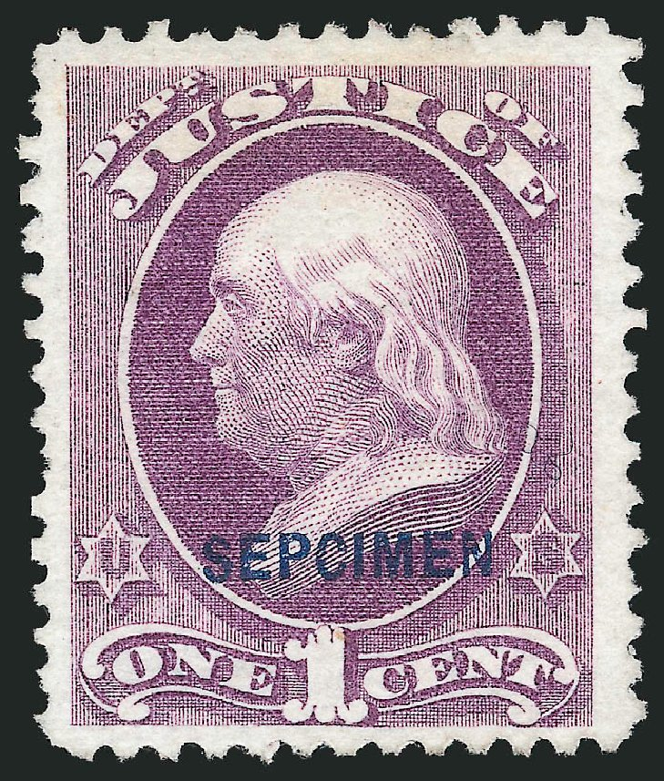 US Stamp Values Scott # O25: 1c 1873 Justice Official. Robert Siegel Auction Galleries, Mar 2015, Sale 1095, Lot 565