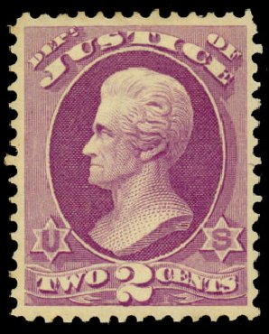 Values of US Stamp Scott Catalog O26: 1873 2c Justice Official. Daniel Kelleher Auctions, Dec 2013, Sale 640, Lot 598