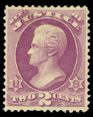 Price of US Stamps Scott Cat. #O26: 1873 2c Justice Official. Daniel Kelleher Auctions, May 2015, Sale 669, Lot 3349