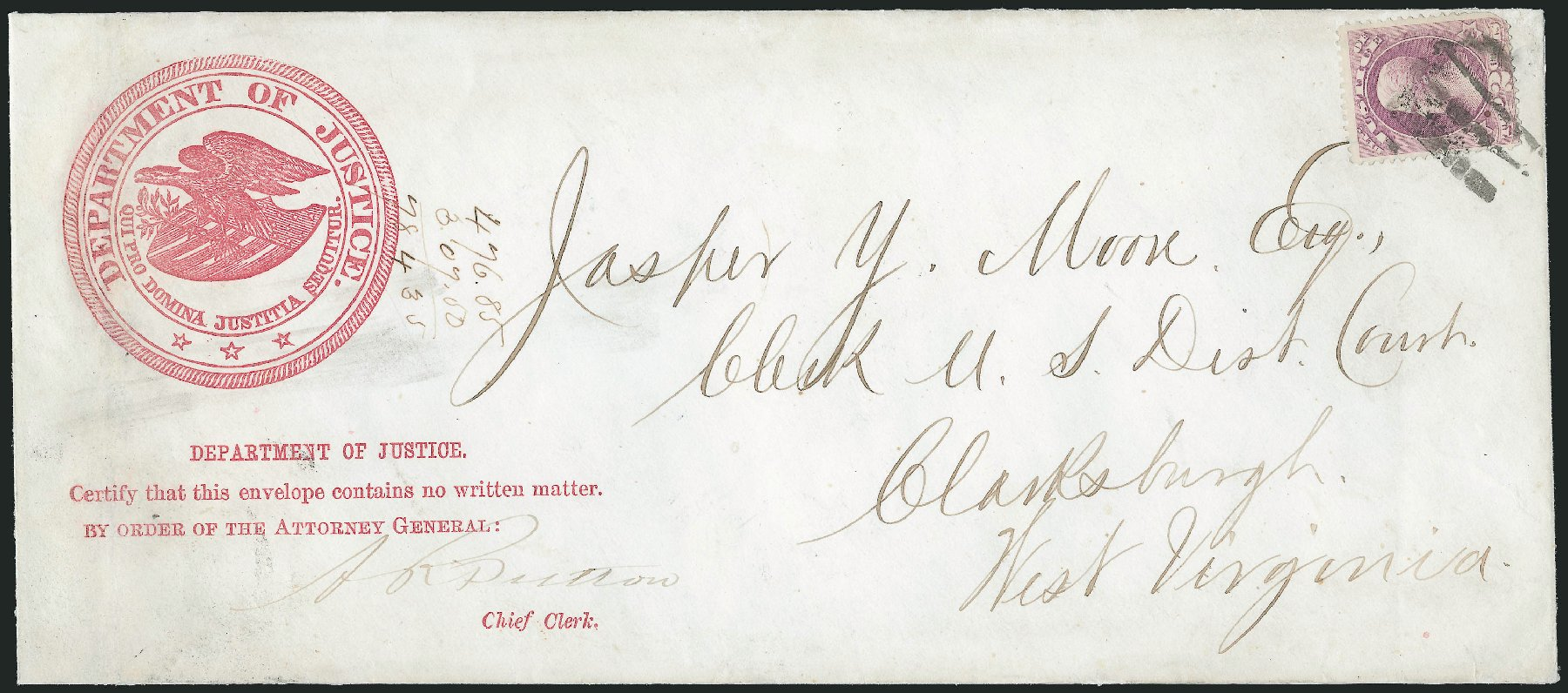 Cost of US Stamp Scott Cat. O26: 1873 2c Justice Official. Robert Siegel Auction Galleries, Nov 2014, Sale 1085, Lot 4060