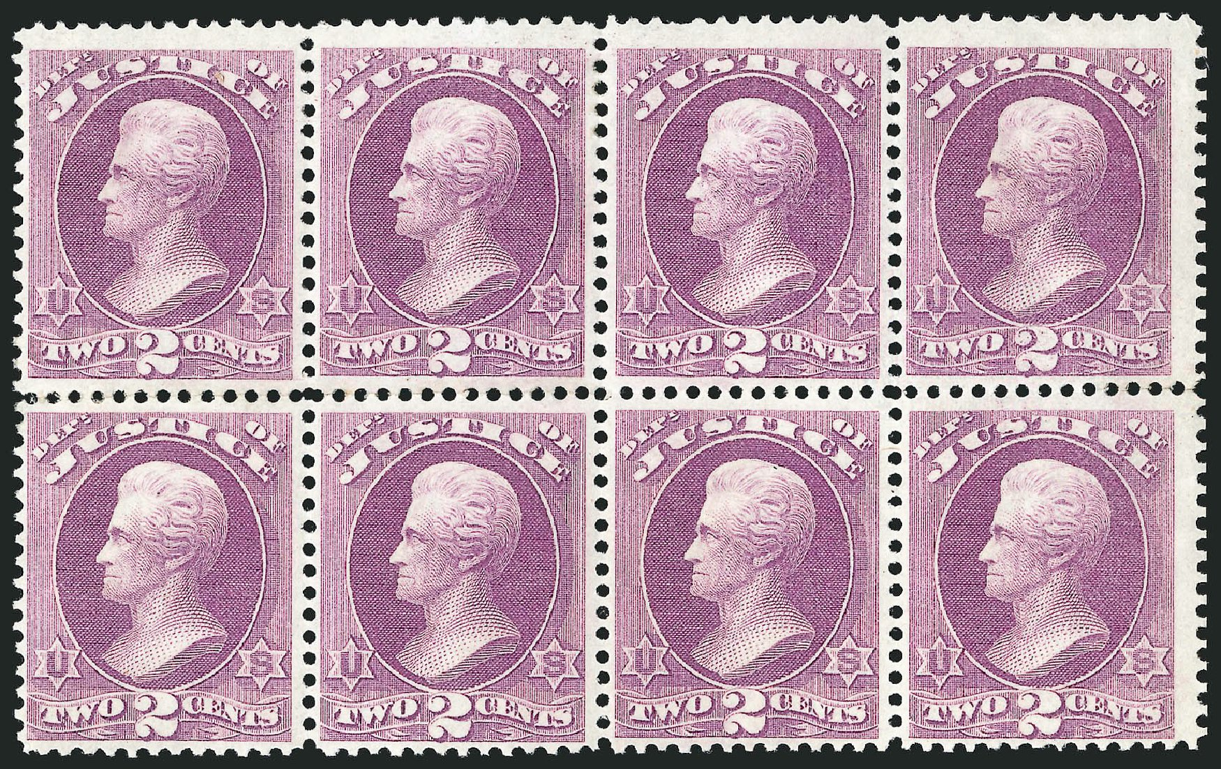 US Stamp Price Scott # O26: 1873 2c Justice Official. Robert Siegel Auction Galleries, Jun 2015, Sale 1100, Lot 94