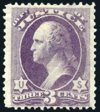 Prices of US Stamps Scott Cat. #O27 - 3c 1873 Justice Official. Harmer-Schau Auction Galleries, Feb 2010, Sale 84, Lot 1818