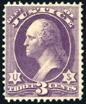 Values of US Stamp Scott Cat. #O27: 1873 3c Justice Official. Harmer-Schau Auction Galleries, Aug 2011, Sale 90, Lot 1718