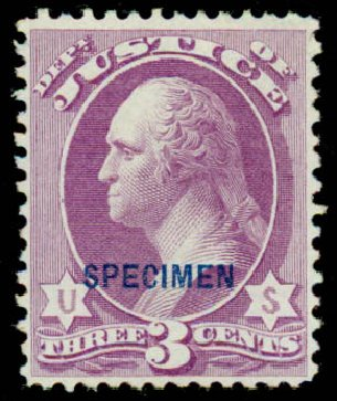 Costs of US Stamps Scott Cat. # O27 - 3c 1873 Justice Official. Daniel Kelleher Auctions, Sep 2013, Sale 639, Lot 3798