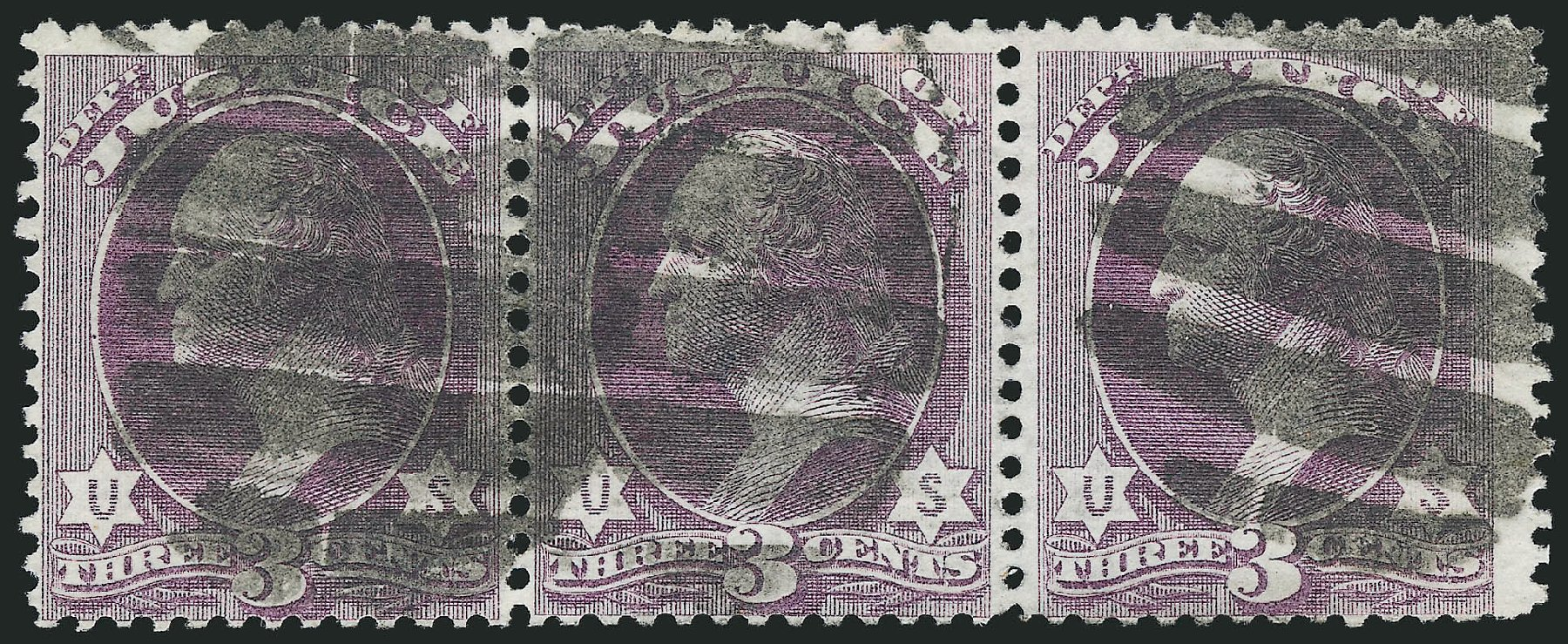 Prices of US Stamp Scott O27: 3c 1873 Justice Official. Robert Siegel Auction Galleries, Nov 2014, Sale 1085, Lot 4054