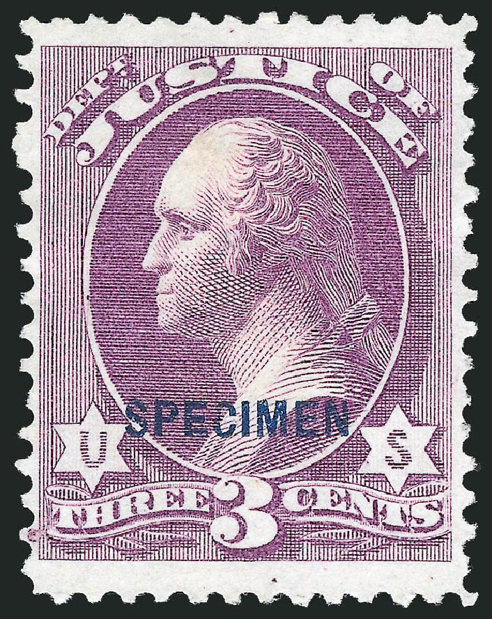 US Stamp Value Scott Catalog # O27: 1873 3c Justice Official. Robert Siegel Auction Galleries, Mar 2015, Sale 1095, Lot 554