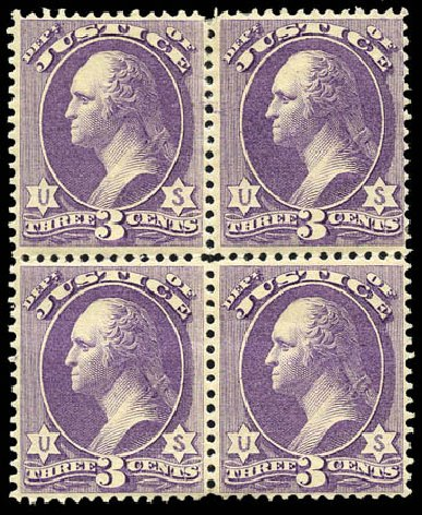 US Stamps Values Scott Catalogue # O27: 3c 1873 Justice Official. Matthew Bennett International, Mar 2011, Sale 337, Lot 3175