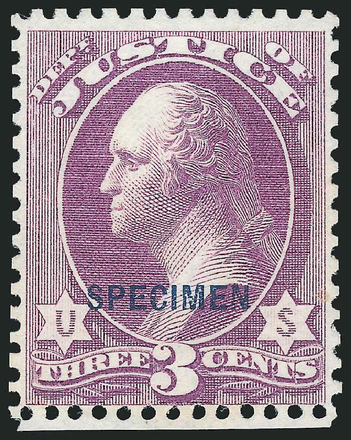 Values of US Stamp Scott O27 - 1873 3c Justice Official. Robert Siegel Auction Galleries, Dec 2014, Sale 1090, Lot 1682