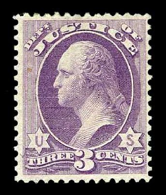 Cost of US Stamps Scott #O27: 1873 3c Justice Official. Harmer-Schau Auction Galleries, Aug 2015, Sale 106, Lot 2143