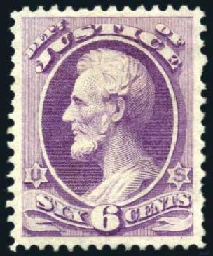 Prices of US Stamps Scott # O28 - 6c 1873 Justice Official. Harmer-Schau Auction Galleries, Feb 2010, Sale 84, Lot 1819