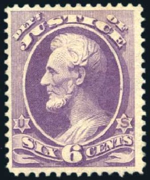 Prices of US Stamp Scott Catalogue #O28 - 1873 6c Justice Official. Harmer-Schau Auction Galleries, Aug 2011, Sale 90, Lot 1719