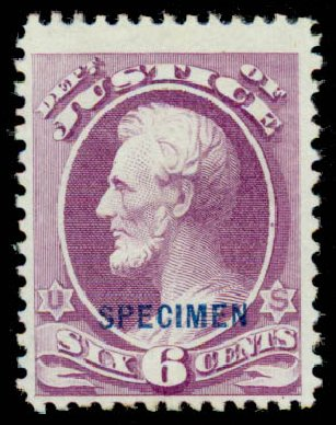 US Stamps Values Scott Cat. #O28 - 1873 6c Justice Official. Daniel Kelleher Auctions, Sep 2013, Sale 639, Lot 3799
