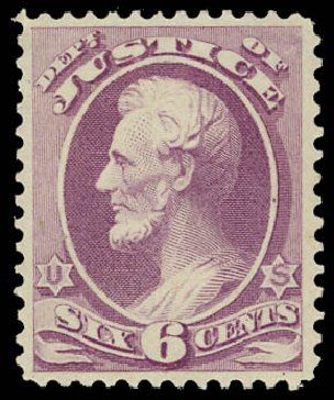 Values of US Stamps Scott Cat. #O28: 6c 1873 Justice Official. Daniel Kelleher Auctions, Jul 2011, Sale 625, Lot 1165