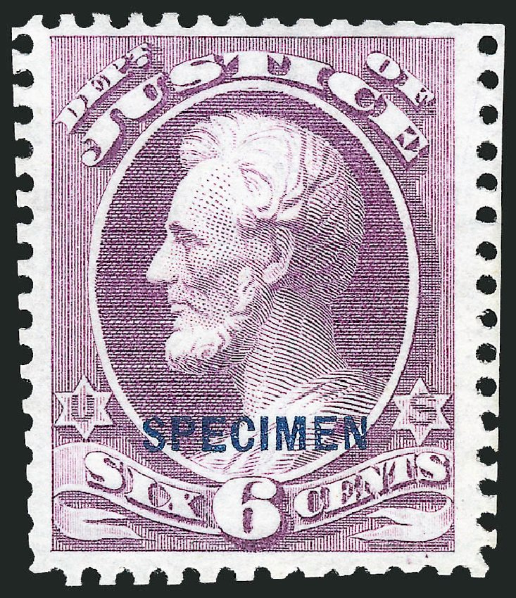 Value of US Stamps Scott #O28: 6c 1873 Justice Official. Robert Siegel Auction Galleries, Mar 2015, Sale 1095, Lot 555