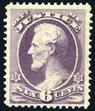 US Stamps Price Scott Cat. O28: 6c 1873 Justice Official. Harmer-Schau Auction Galleries, Jun 2008, Sale 78, Lot 1742