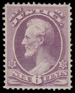 US Stamps Prices Scott Catalog #O28 - 1873 6c Justice Official. Daniel Kelleher Auctions, Jan 2015, Sale 663, Lot 2152