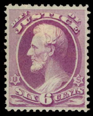 US Stamp Price Scott Catalog O28: 6c 1873 Justice Official. Daniel Kelleher Auctions, May 2015, Sale 669, Lot 3352