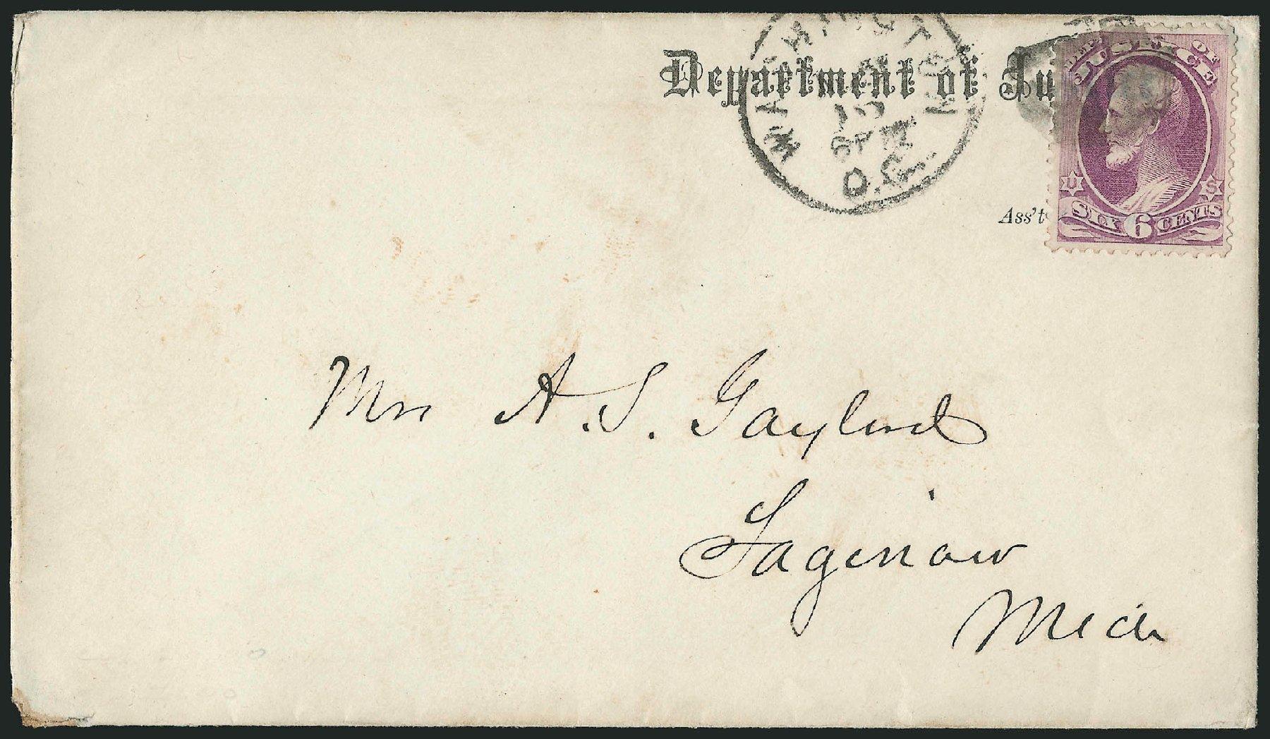 US Stamps Values Scott Cat. # O28: 1873 6c Justice Official. Robert Siegel Auction Galleries, Nov 2014, Sale 1085, Lot 4062