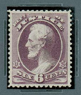US Stamp Value Scott Catalog O28: 6c 1873 Justice Official. Matthew Bennett International, Oct 2007, Sale 322, Lot 2313