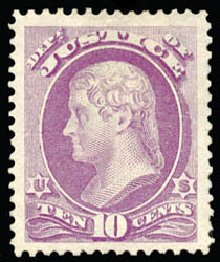 US Stamps Values Scott Catalog #O29 - 1873 10c Justice Official. Schuyler J. Rumsey Philatelic Auctions, Apr 2015, Sale 60, Lot 2567