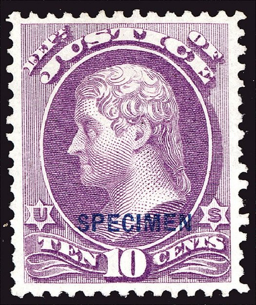 Values of US Stamps Scott Catalogue O29: 10c 1873 Justice Official. Spink Shreves Galleries, Jan 2014, Sale 146, Lot 529