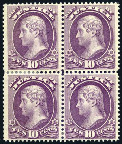 US Stamp Values Scott Catalogue O29 - 1873 10c Justice Official. Harmer-Schau Auction Galleries, Aug 2011, Sale 90, Lot 1720