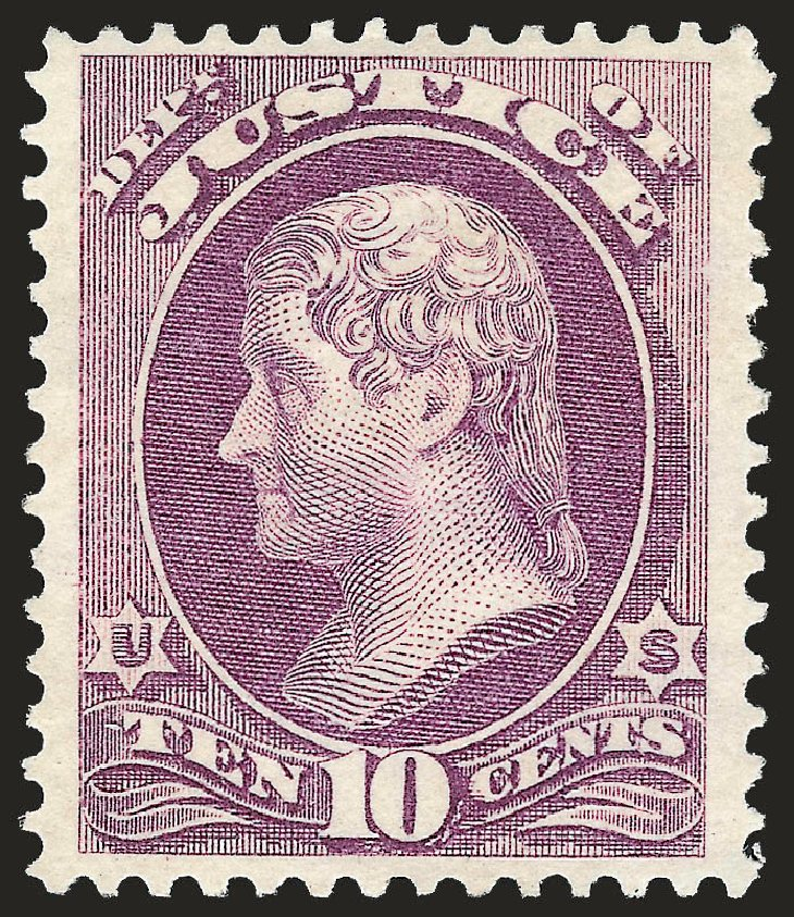 US Stamps Value Scott Catalog #O29: 1873 10c Justice Official. Robert Siegel Auction Galleries, Jun 2010, Sale 992, Lot 2634