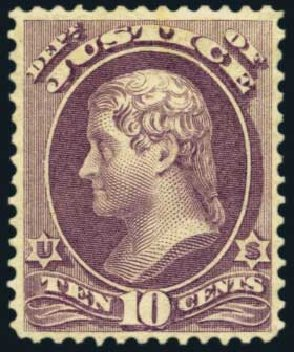 US Stamp Values Scott Catalog #O29 - 1873 10c Justice Official. Harmer-Schau Auction Galleries, May 2012, Sale 93, Lot 482
