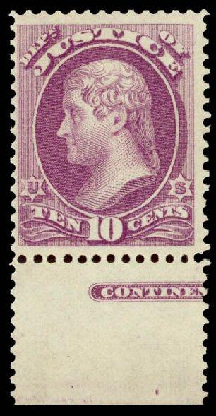 US Stamp Values Scott Catalog O29: 1873 10c Justice Official. Daniel Kelleher Auctions, Aug 2015, Sale 672, Lot 2982