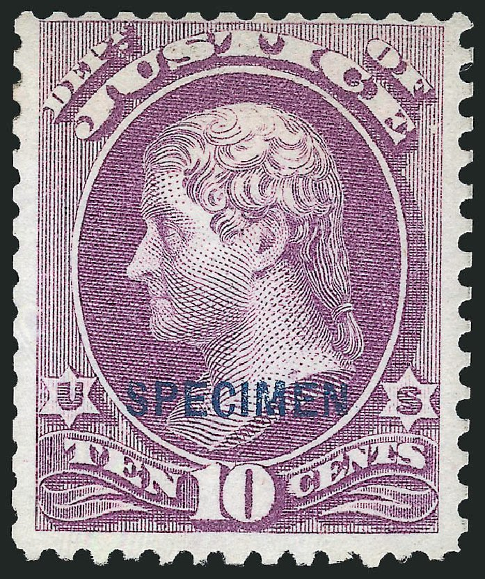 Prices of US Stamp Scott Cat. # O29: 10c 1873 Justice Official. Robert Siegel Auction Galleries, Dec 2014, Sale 1090, Lot 1683