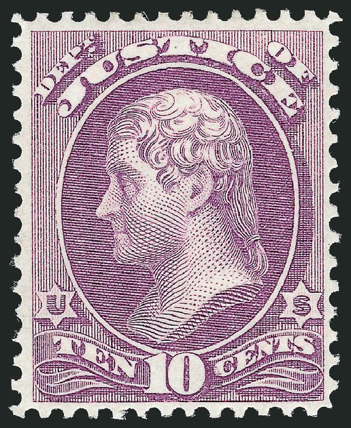 US Stamps Values Scott O29 - 10c 1873 Justice Official. Robert Siegel Auction Galleries, Oct 2012, Sale 1033, Lot 4306