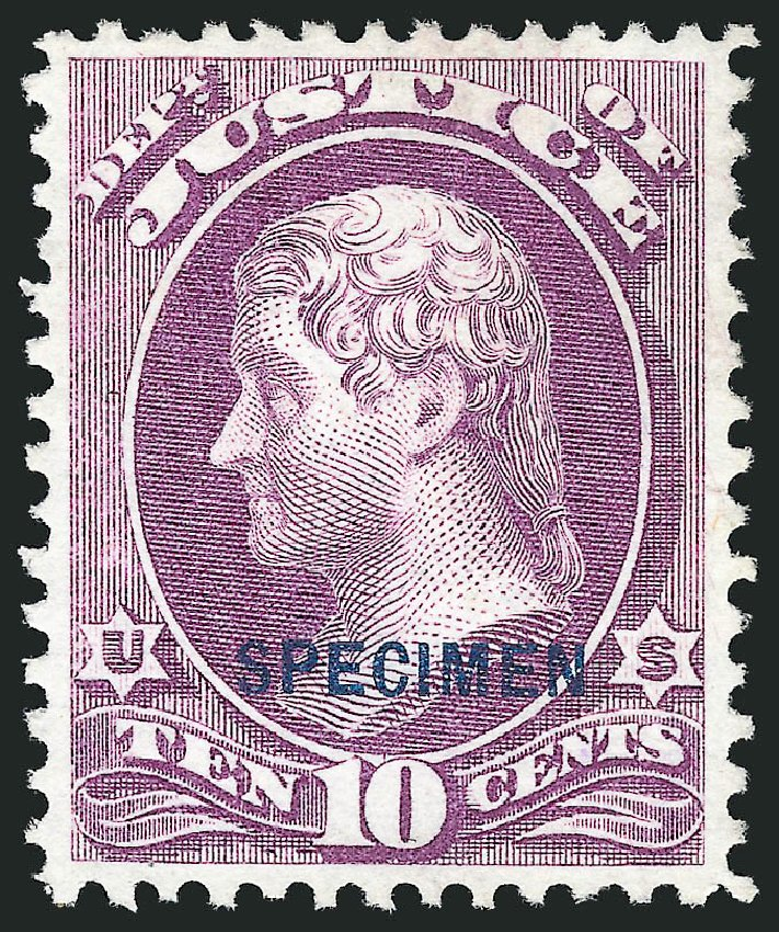 US Stamps Values Scott # O29: 10c 1873 Justice Official. Robert Siegel Auction Galleries, Mar 2015, Sale 1095, Lot 556