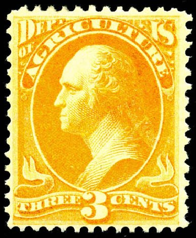 US Stamps Prices Scott #O3 - 1873 3c Agriculture Official. Matthew Bennett International, Jun 2008, Sale 328, Lot 1210