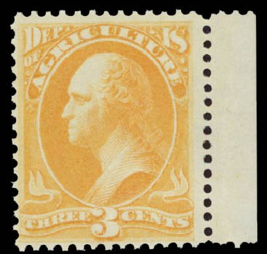 US Stamp Value Scott Catalog # O3: 3c 1873 Agriculture Official. Daniel Kelleher Auctions, May 2015, Sale 669, Lot 3330