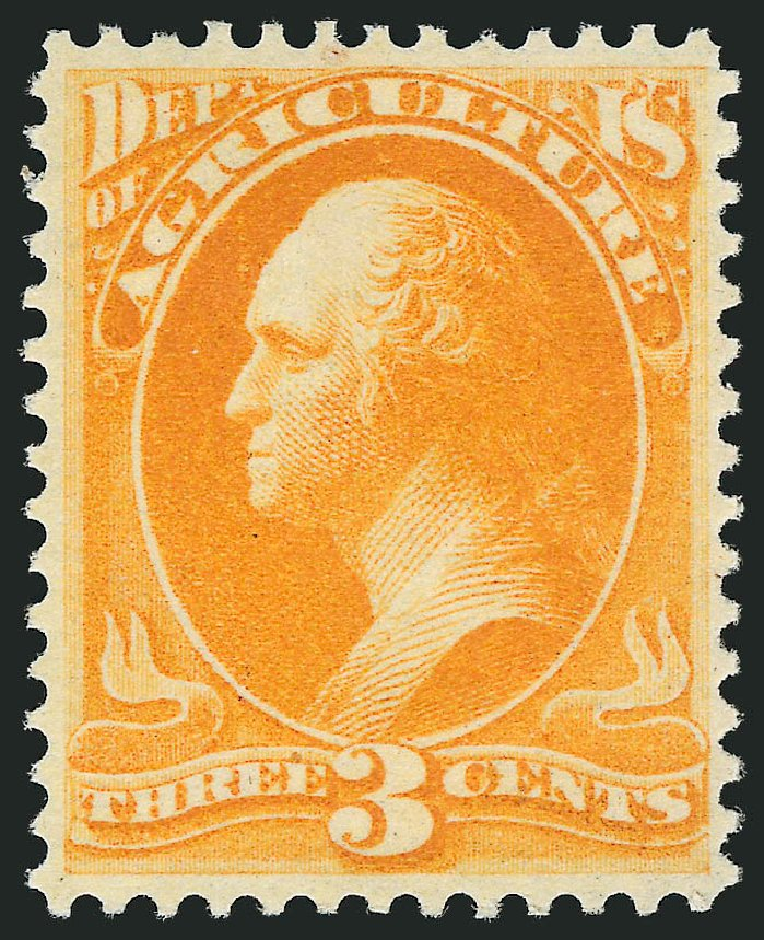 Cost of US Stamp Scott Catalogue #O3 - 1873 3c Agriculture Official. Robert Siegel Auction Galleries, Nov 2014, Sale 1085, Lot 4011