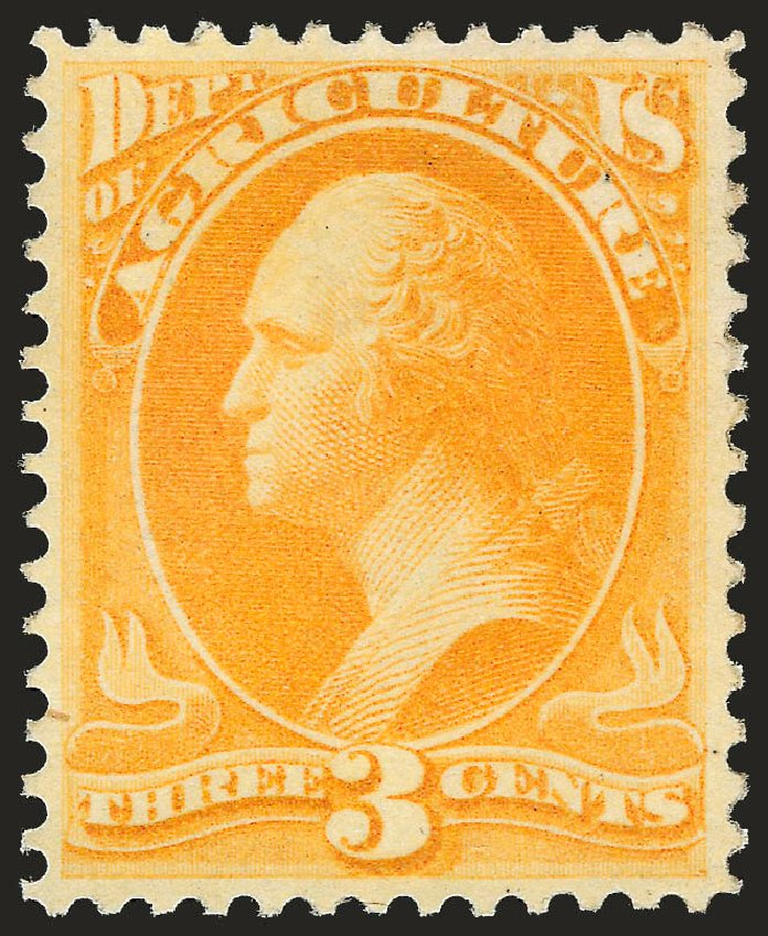 US Stamps Values Scott Catalogue # O3 - 3c 1873 Agriculture Official. Robert Siegel Auction Galleries, Sep 2009, Sale 976, Lot 2321
