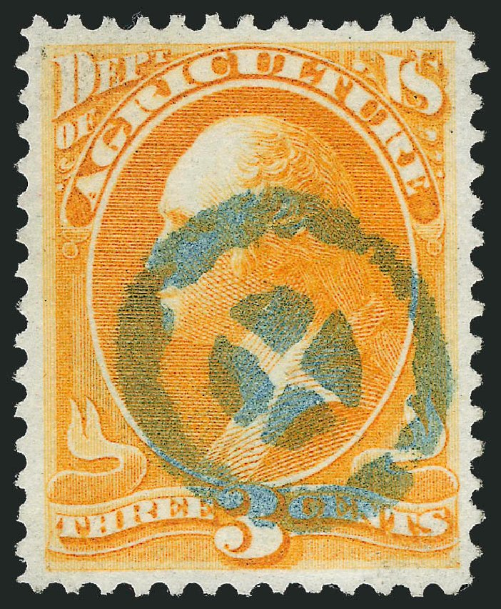 US Stamps Values Scott Cat. # O3: 1873 3c Agriculture Official. Robert Siegel Auction Galleries, Oct 2012, Sale 1032, Lot 3644