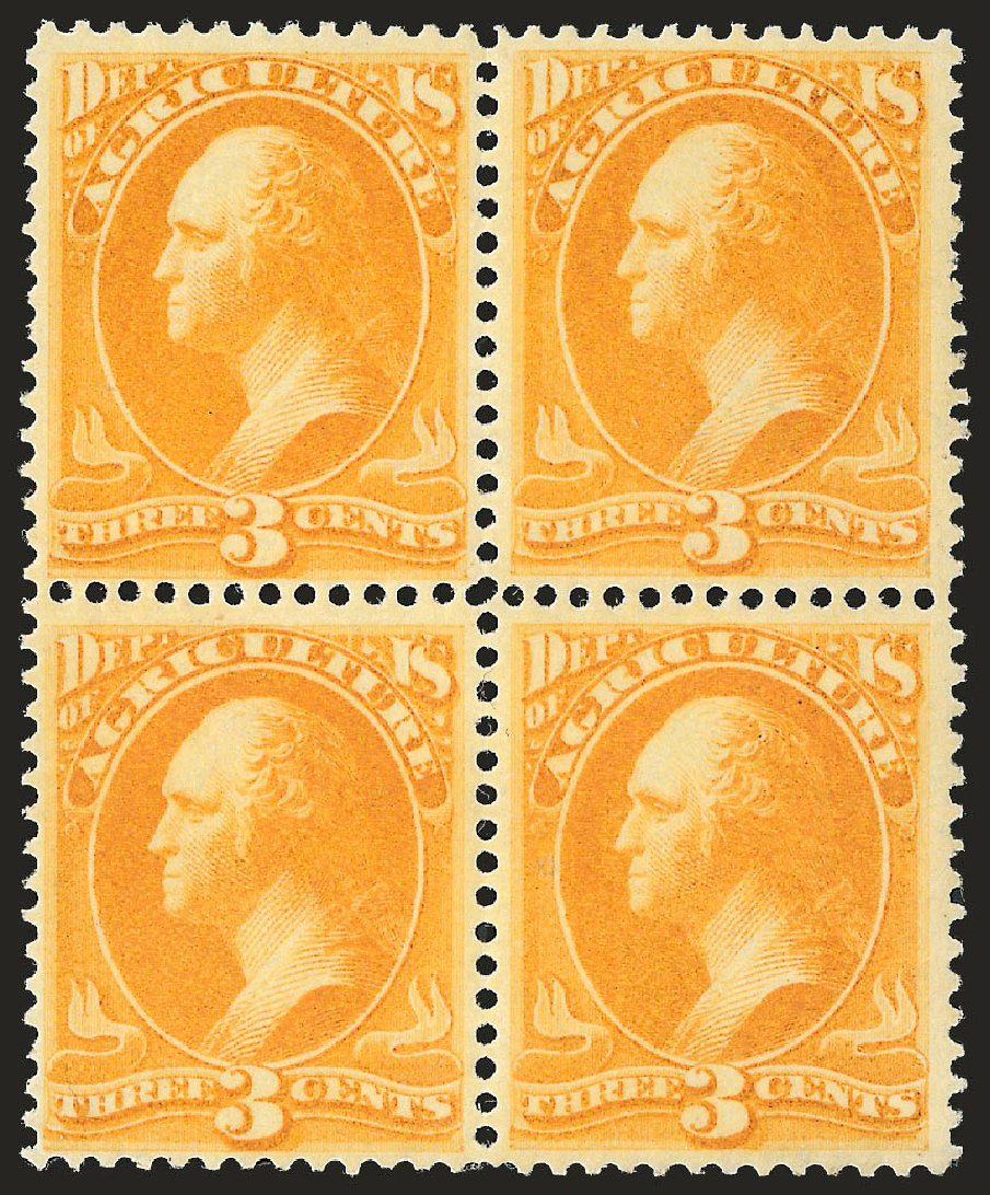 US Stamps Values Scott Catalog #O3: 3c 1873 Agriculture Official. Robert Siegel Auction Galleries, Jun 2009, Sale 975, Lot 2224