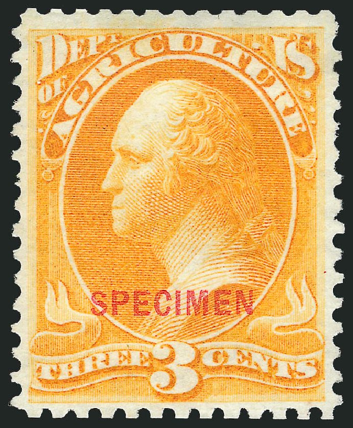 US Stamp Prices Scott Catalogue O3: 3c 1873 Agriculture Official. Robert Siegel Auction Galleries, Mar 2015, Sale 1095, Lot 505
