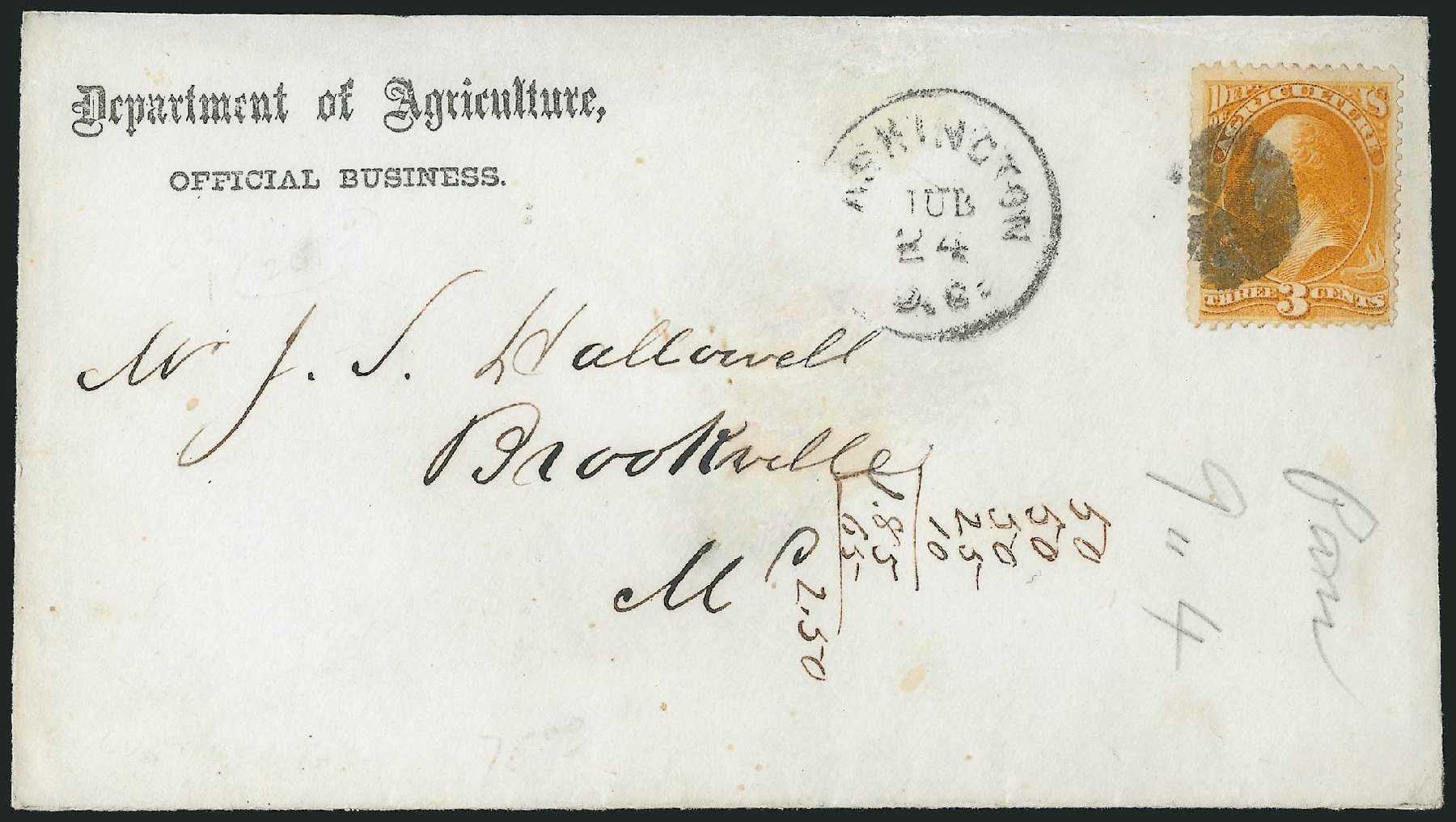 Values of US Stamps Scott Catalogue # O3: 1873 3c Agriculture Official. Robert Siegel Auction Galleries, Nov 2014, Sale 1085, Lot 4022