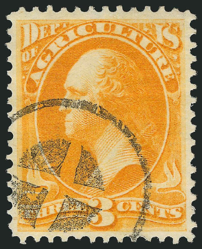 Prices of US Stamps Scott Catalog # O3: 3c 1873 Agriculture Official. Robert Siegel Auction Galleries, Oct 2012, Sale 1032, Lot 3643