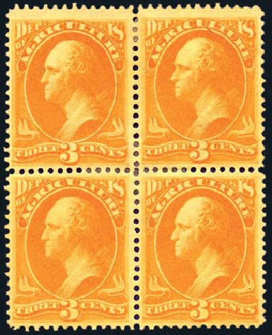 US Stamp Prices Scott Catalogue # O3: 1873 3c Agriculture Official. Harmer-Schau Auction Galleries, Aug 2011, Sale 90, Lot 1696