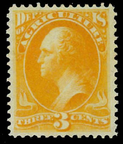 Price of US Stamps Scott Catalog #O3 - 1873 3c Agriculture Official. Daniel Kelleher Auctions, Oct 2011, Sale 626, Lot 606