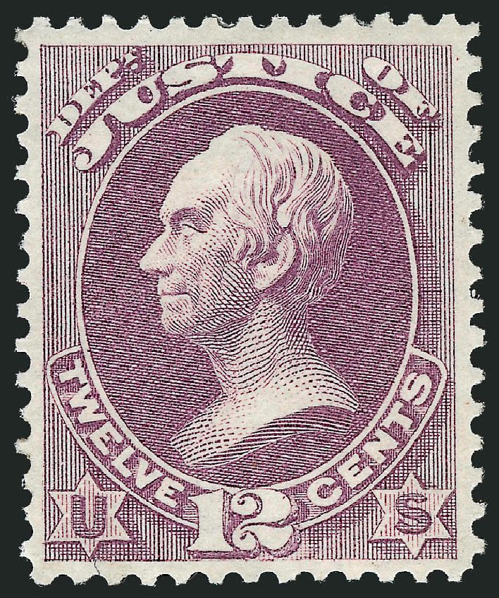 Costs of US Stamps Scott Cat. O30: 1873 12c Justice Official. Robert Siegel Auction Galleries, Oct 2012, Sale 1033, Lot 4307