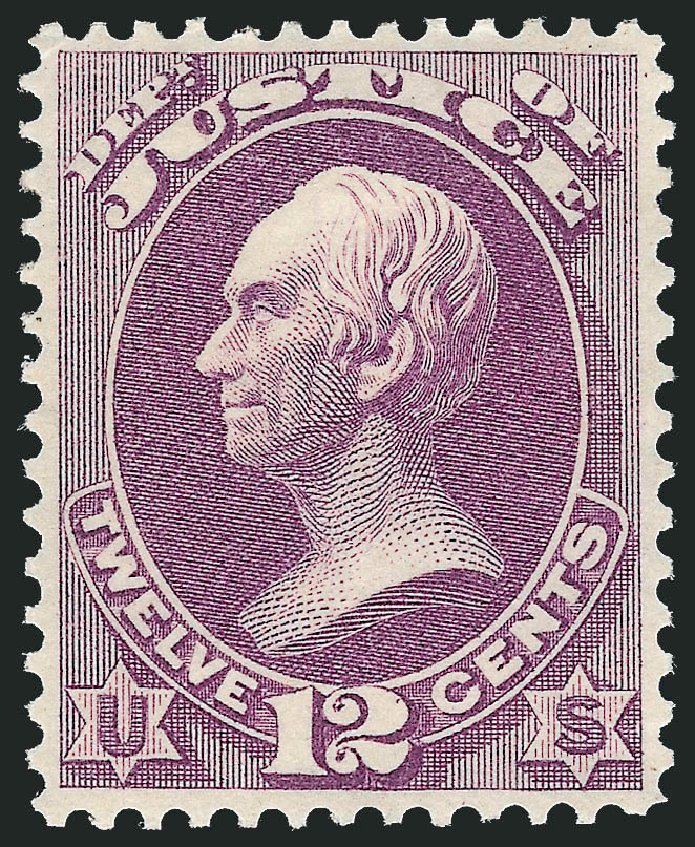 US Stamp Price Scott Catalog O30: 1873 12c Justice Official. Robert Siegel Auction Galleries, Nov 2013, Sale 1061, Lot 4157