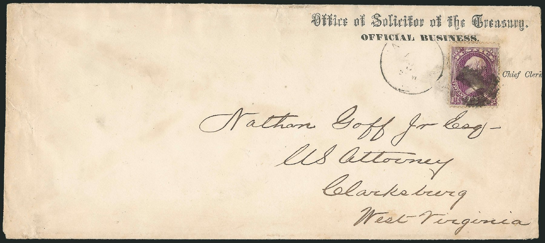 US Stamps Price Scott # O30: 1873 12c Justice Official. Robert Siegel Auction Galleries, Dec 2010, Sale 1003, Lot 5588