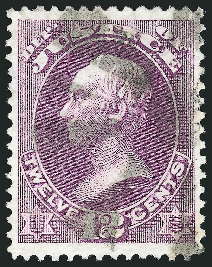 US Stamps Values Scott O30: 12c 1873 Justice Official. Robert Siegel Auction Galleries, Oct 2012, Sale 1032, Lot 3659